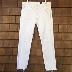 AG Stevie MidRise Skinny Ankle Jeans White Raw Hem